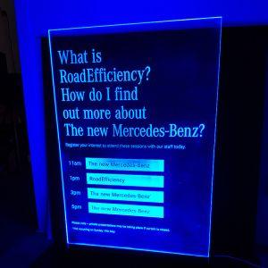 Lit Acrylic Mercedes Sign