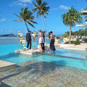 Plexiglas Runway In Pool For Wedding
