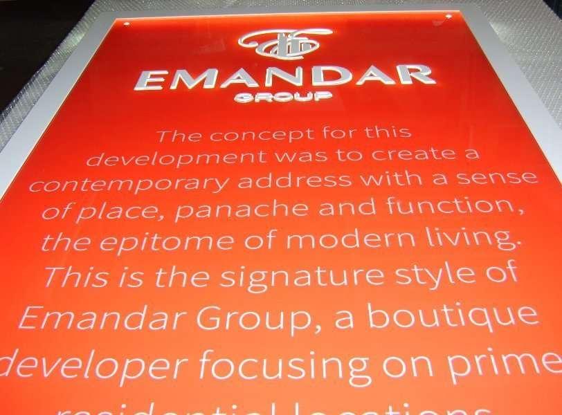 Emandar group Edgelit engraved acrylic