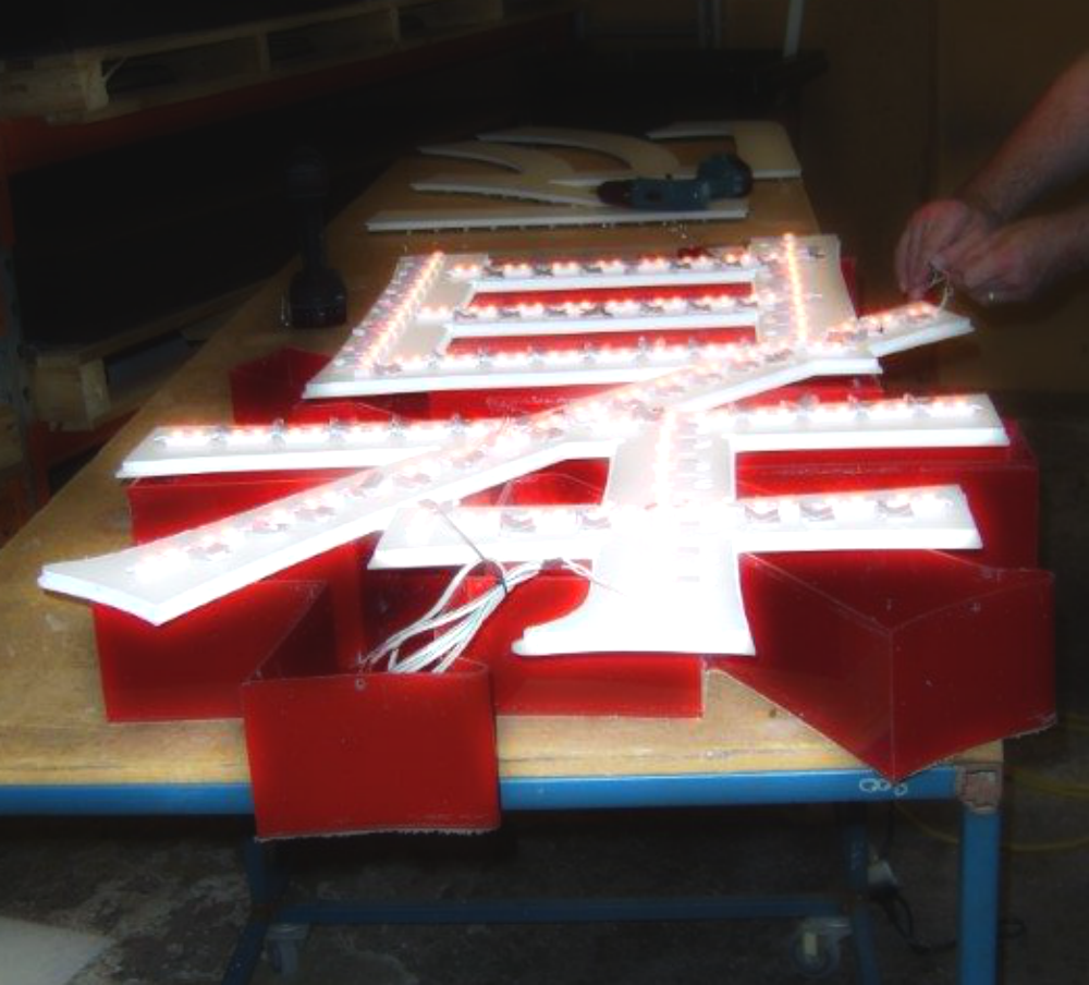 Chinese Letters with LED Fabricated