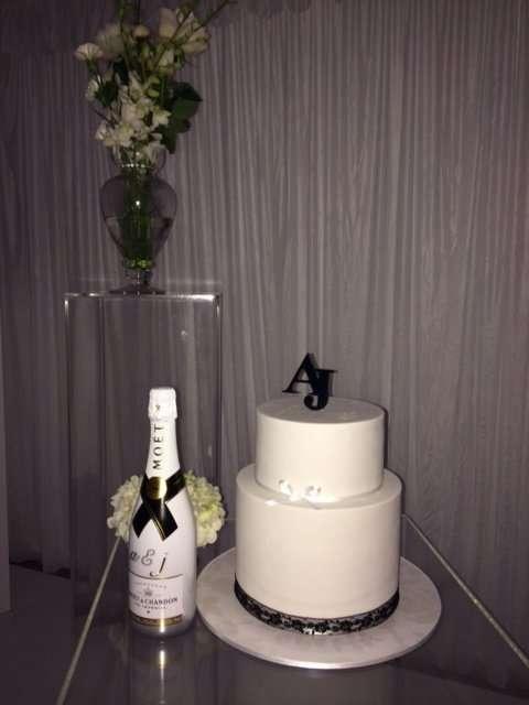 AJ Wedding Couple Initials Cut in Black Acrylic
