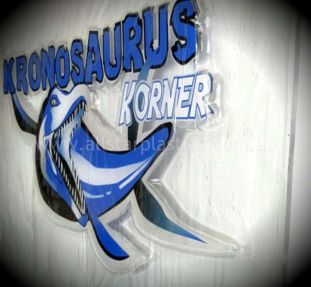 kronosauraurus slumped acrylic sign, thermo forming