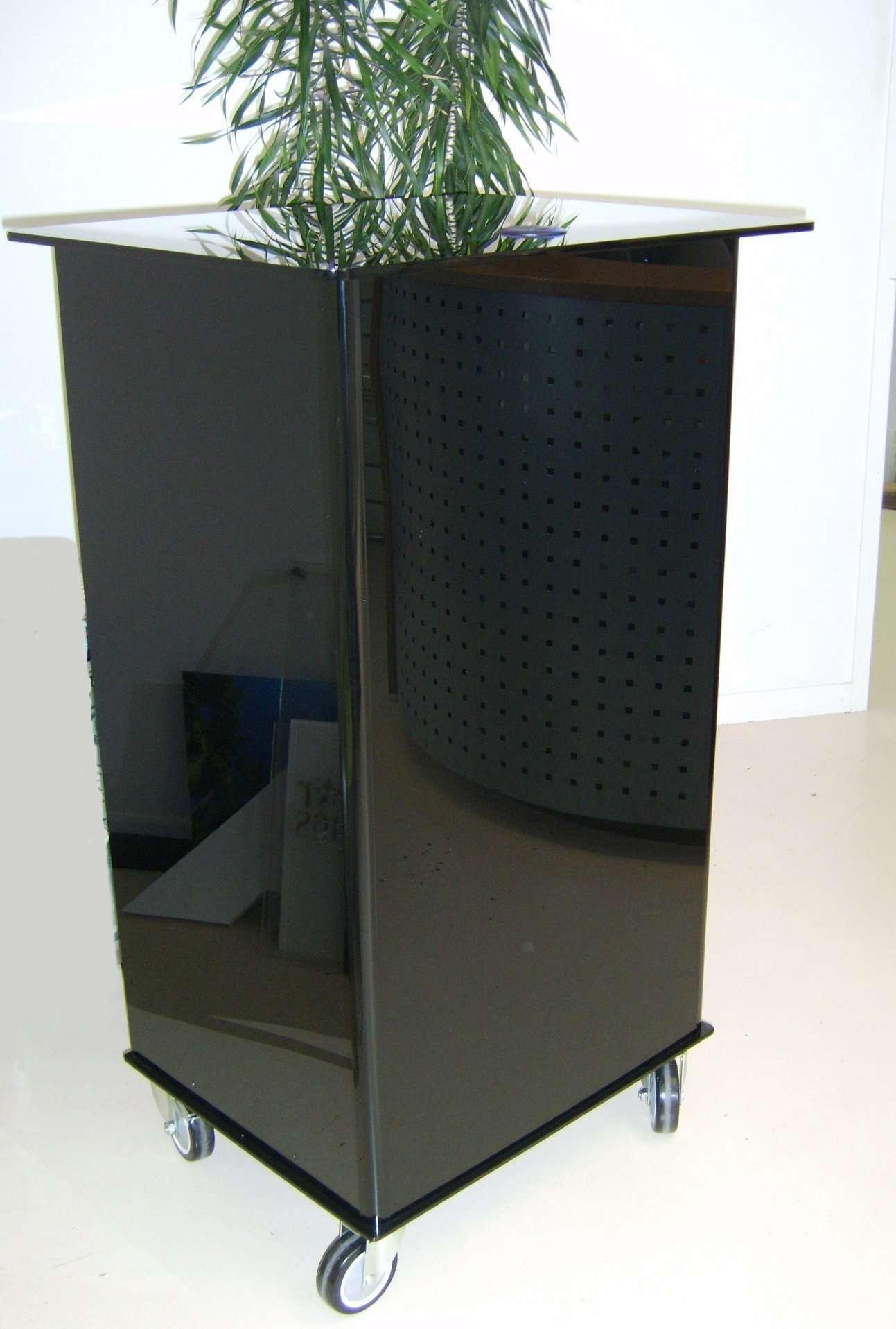 Black Acrylic lectern on wheels