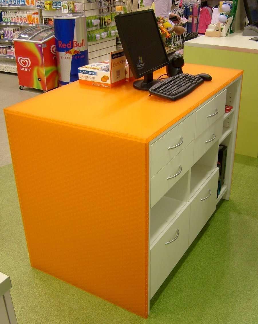 Satin Ice Acrylic Cash Register Desk for Chemist Inside View