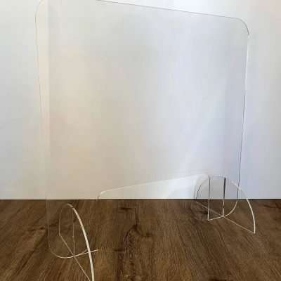 Mini clear acrylic sneeze guard 585 high by 585 wide with access hole 350mm wide by 150mm high