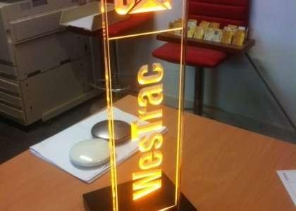 engraved acrylic award with Led